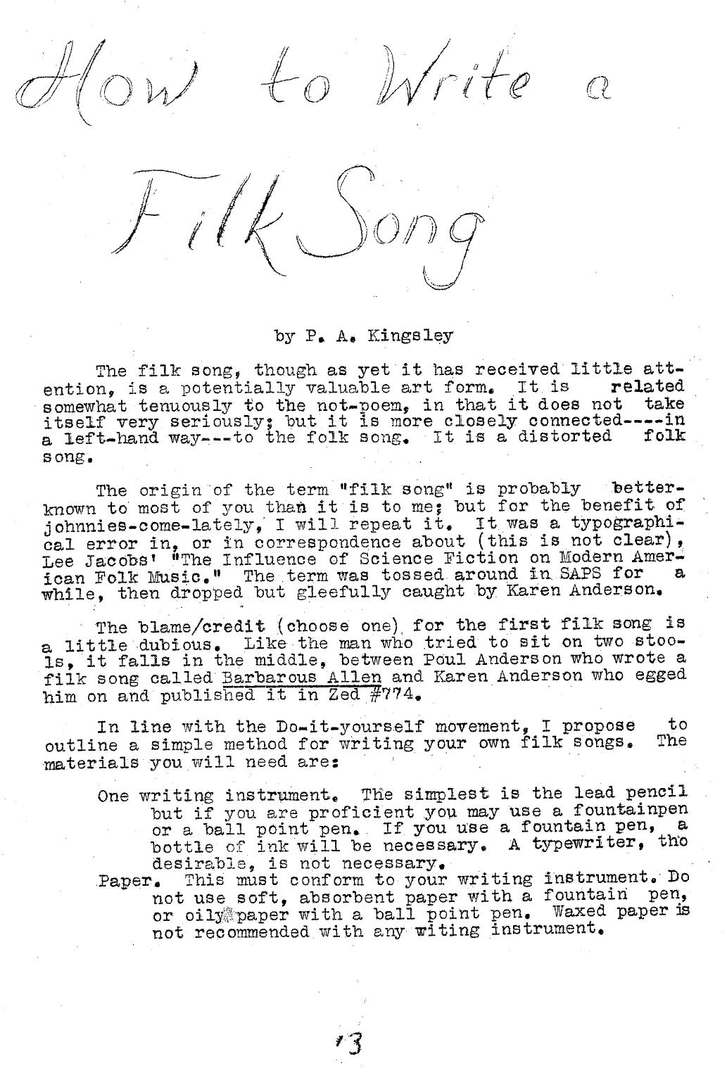An early document about filk songs.